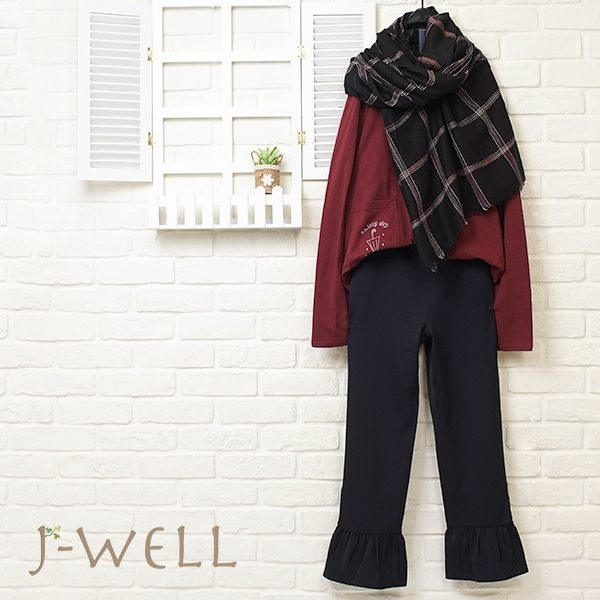 J-WELL 圍巾童趣棉T荷葉直筒褲三件組 (組合614 8J1423酒紅+8W6533黑M)