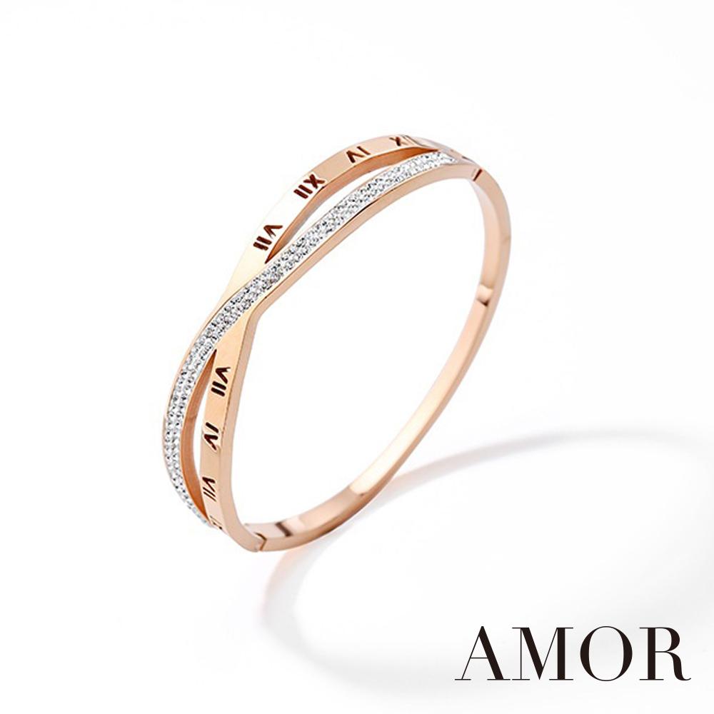 AMOR 微鑲水鑽鈦鋼玫瑰金交叉設計風格手環/首飾