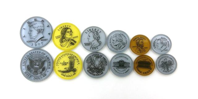 【台灣製USL遊思樂】錢幣 / 代幣 / 透明美金硬幣模型(50pcs) / 袋
