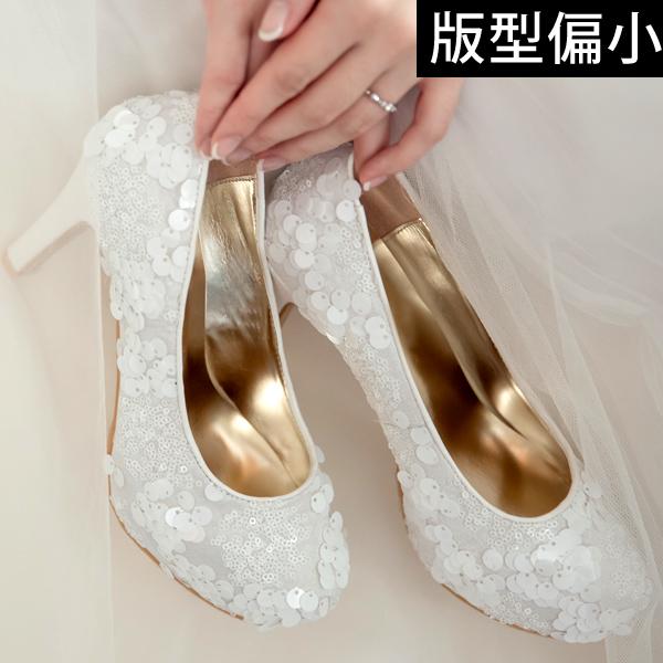 Ann S Bridal幸福婚鞋手工縫製立體古董珠片厚底跟鞋-白