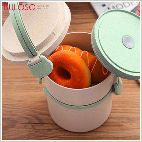 《不囉唆》小麥秸稈圓形密封便當盒-雙層 可微波 學生上班族 飯盒 野餐 餐具(可挑款/色)【A425460】
