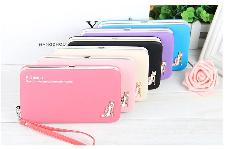女皮包長夾高跟鞋生日禮物送什麼好9色女用皮夾錢包女用長夾包包糖果色水鑽手機殼