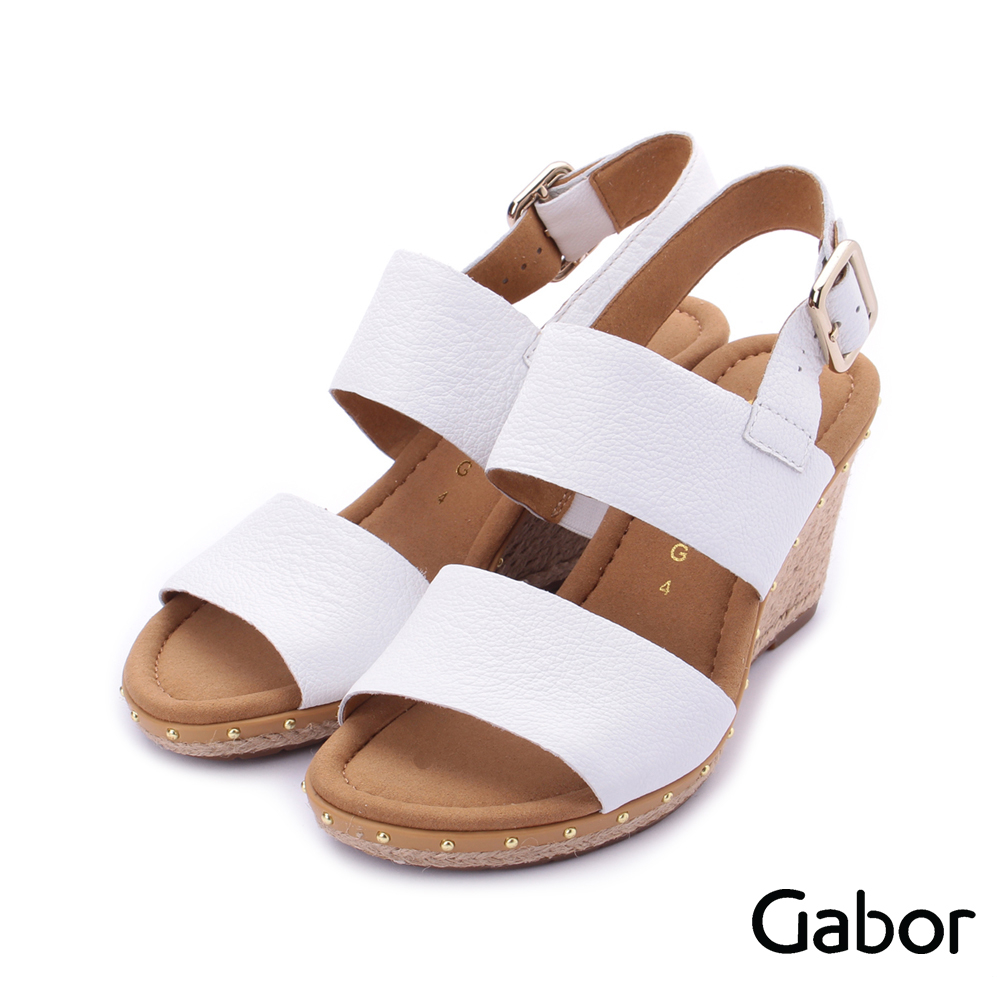 德國GABOR 皮革雙寬帶繞踝楔型涼鞋 白 82.827.50 女鞋