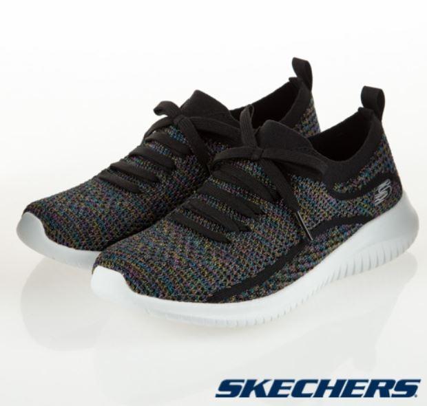 SKECHERS系列-ULTRA FLEX 女款針織休閒鞋 黑-NO.12843BKMT