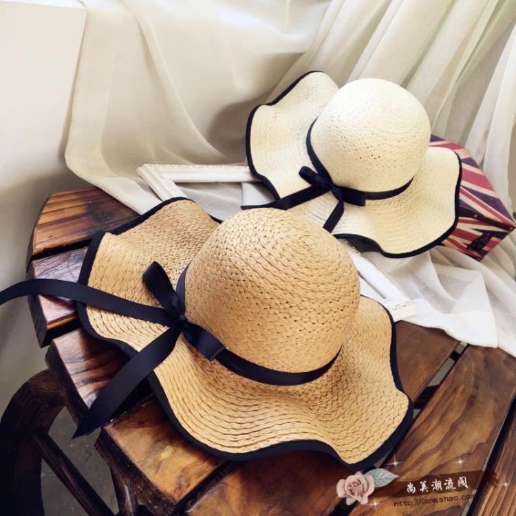 帽子女韓國防曬太陽草帽出游大檐沙灘遮陽帽蝴蝶結韓版潮米色尚美潮流閣