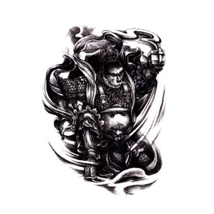 紋身貼紋身貼紙刺青貼紙滿背紋身全甲半甲刺青黑色全身象形圖騰0072