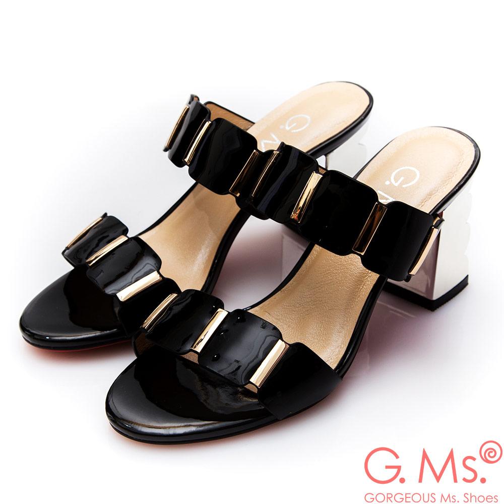 G.Ms.漆皮金色飾釦波浪高跟涼拖鞋*黑色