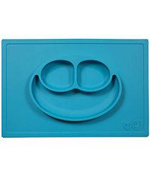 iae創百市集 美國EZPZ矽膠幼兒餐具 Happy Mat快樂防滑餐盤- 寶石藍 餐具 盤子