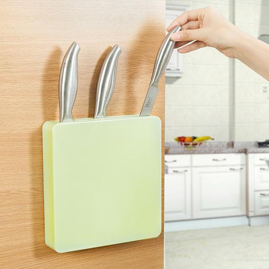 米菈生活館W53多功能隱形刀架廚房收納剪刀工具儲存菜刀水果刀黏貼通風瀝乾