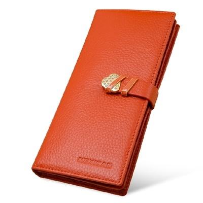 真皮長夾-心形鑲鑽扣飾時尚女錢包71af33巴黎精品