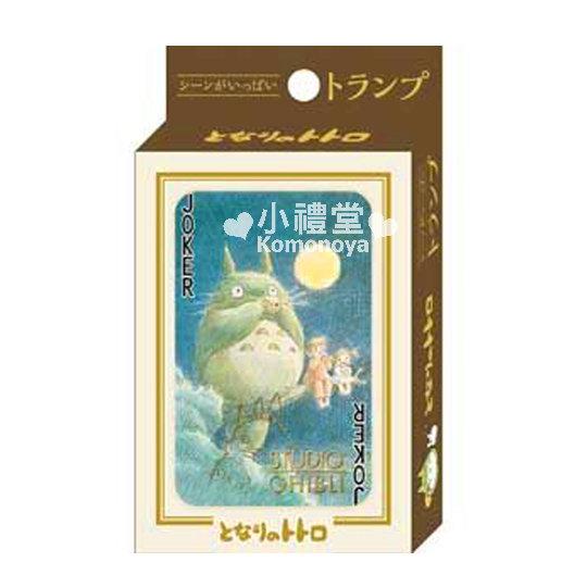 〔小禮堂〕宮崎駿Totoro龍貓 日製撲克牌《綠.吹笛.盒裝》可愛圖案附盒裝  4970381-18195
