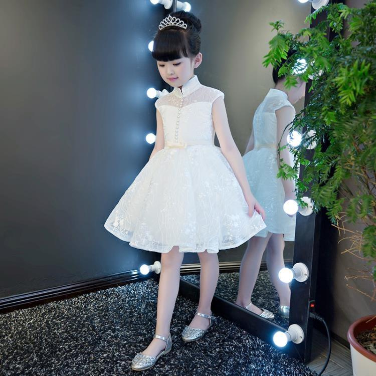 兒童禮服兒童禮服公主裙女童白色婚紗蓬蓬裙花童鋼琴演出服小主持人晚禮服八折鉅惠