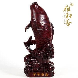 紅木雕工藝品 鯉魚跳龍門