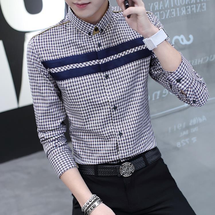 超豐國際春季男士長袖襯衫修身印花襯衫男商務休閑青年男裝襯1入