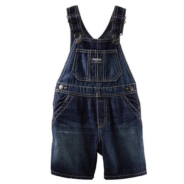 Carter's OshKosh B'gosh美國童裝牛仔吊帶褲背帶褲短褲深藍色6M 9M 12M 18M 24M