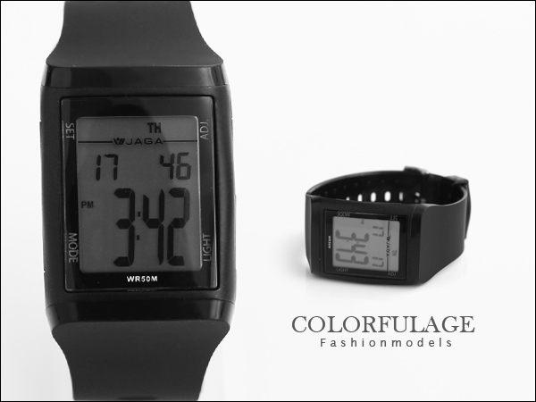 柒彩年代【NE423】JAGA 捷卡都會時尚風多功能電子錶 低調全黑型男防水50米~原廠公司貨