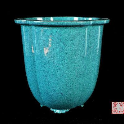 紫砂陶瓷仿古綠釉蘭花花盆