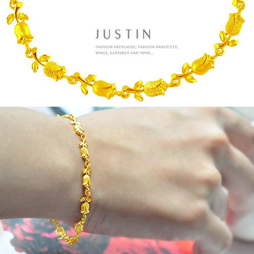 Justin金緻品 黃金手鍊 美好香氣 玫瑰花環 金飾 9999純金手環 花朵造型