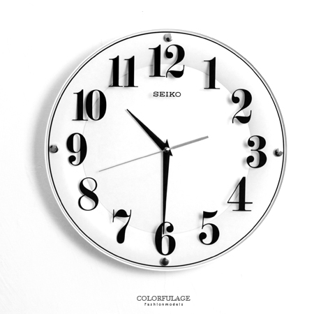 SEIKO精工掛鐘無邊設計數字浮印玻璃鏡面時鐘滑動式靜音秒針柒彩年代NG1722原廠公司貨