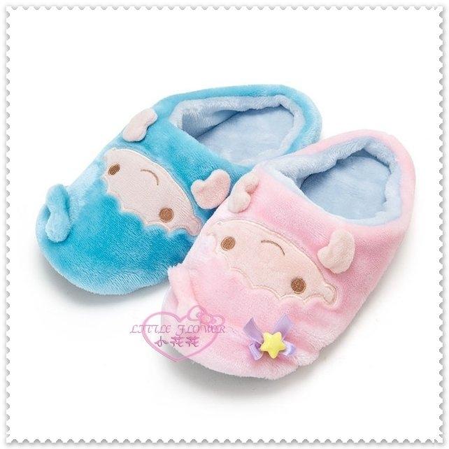 小花花日本精品雙子星kikilala大臉粉藍星星絨毛造型室內拖鞋保暖鞋冬天必備~預購