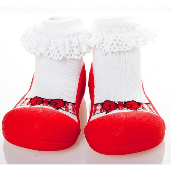 韓國 Attipas 快樂腳襪型學步鞋-芭蕾紅
