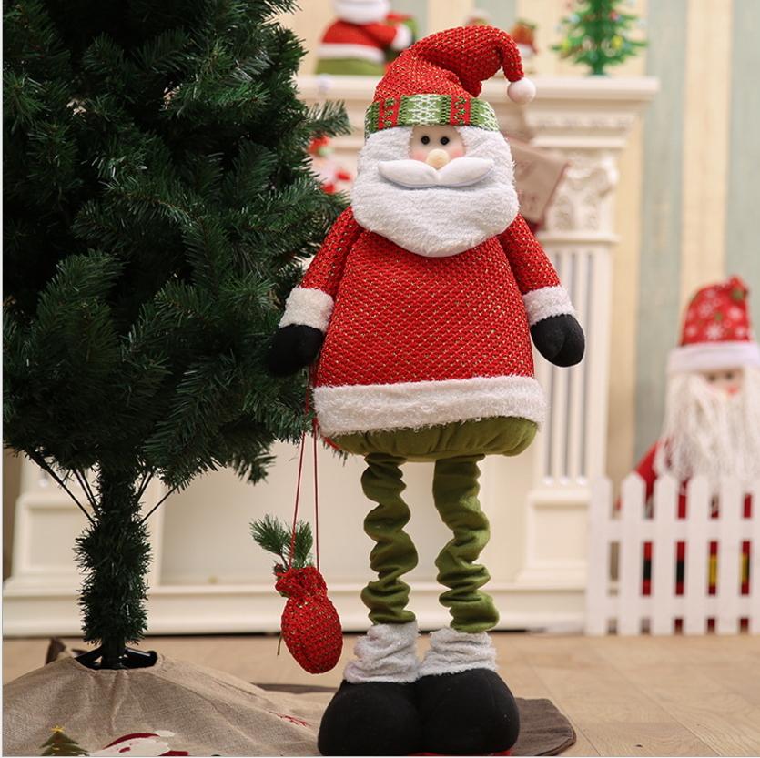 聖誕節商超櫥窗裝飾桌面可伸縮老人公仔玩偶聖誕樹底擺件毛絨禮品預購CH2522