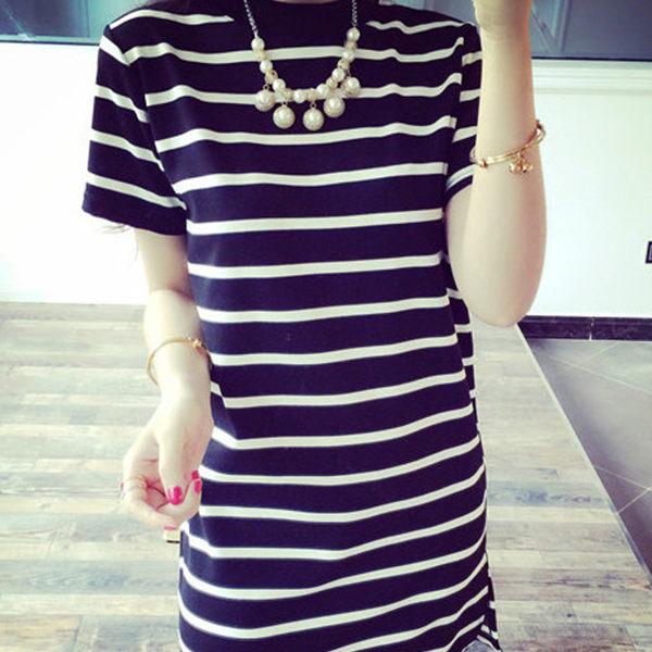 2017春夏針織休閒橫條圓領短袖洋裝 (黑  白)二色售  (M7SS)