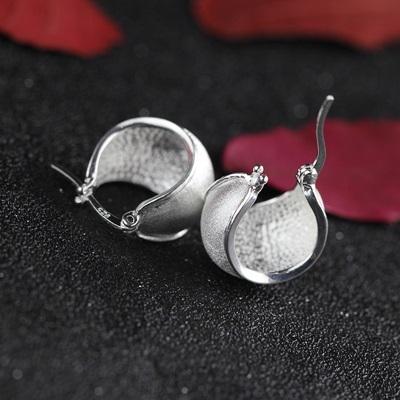 925純銀耳環-拉絲簡約半圓百搭流行七夕情人節生日禮物女飾品73nb79時尚巴黎