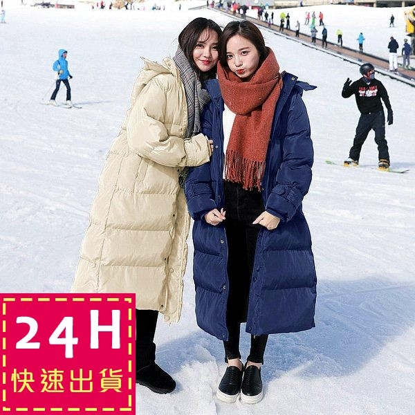 梨卡 - 【韓國製】韓國空運羽絨棉加長超長鋪棉防風大衣 - 超長款長版加厚保暖連帽風衣外套A285