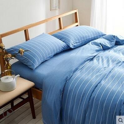 天竺棉四件套純棉簡約條紋床單被套針織棉全棉床笠床上用品藍色寬條