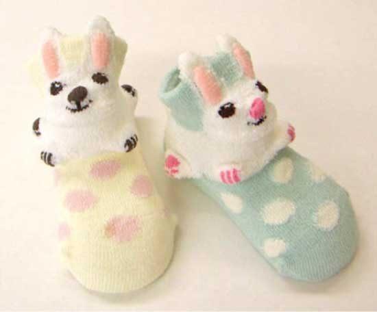 POMPKINS BABY日本3D動物造型襪子兒童襪綠色小兔