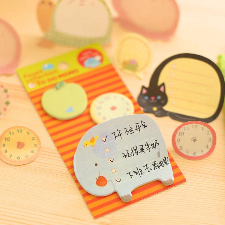 可愛動物時鐘便利貼N次貼貓咪大象兔子烏龜時鐘便條紙學生禮品贈品-艾發現