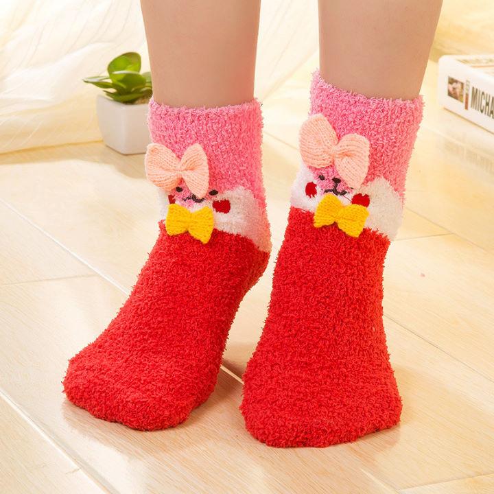 韓版冬季保暖卡通動物地板襪珊瑚絨襪毛巾襪女襪-艾發現