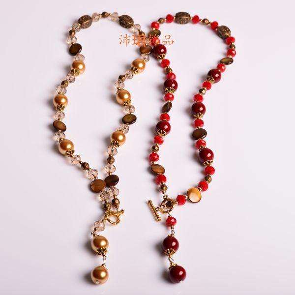 新款上市貝殼水晶珍珠純手工女式毛衣鏈