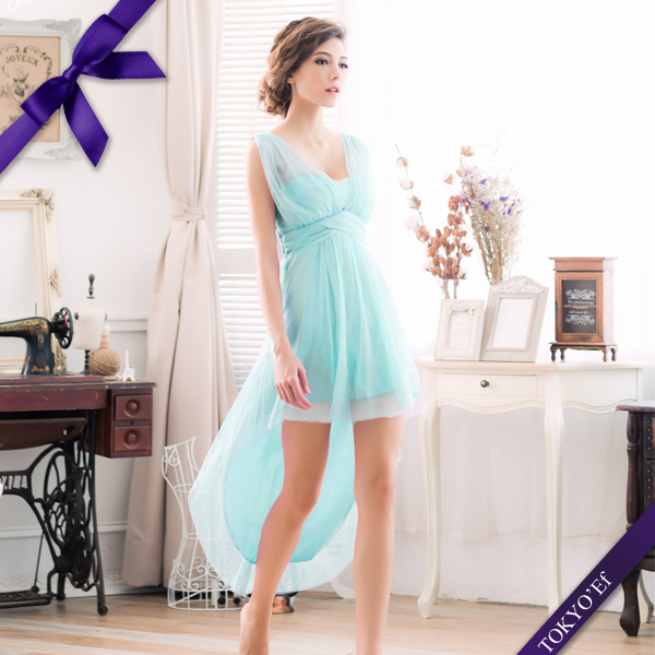 東京衣服 蜜糖女伶 輕甜馬卡龍色系 深V抓紗高腰設計前短後長小禮服 水藍