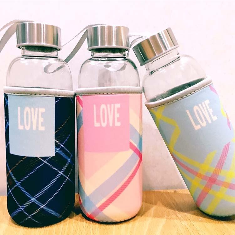 水杯【KCG099】Love蘇格蘭紋杯套玻璃水杯450ml 水瓶 瓶子 咖啡杯 隨行杯 水壺-收納女王