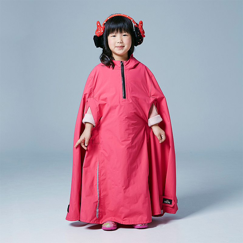 MORR Eligibly兒童斗篷雨衣桃紅無塑化劑可收納連身雨衣登山通勤機車