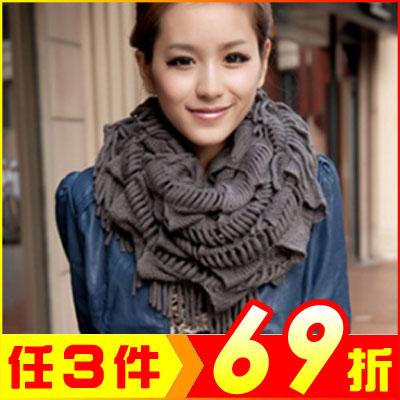 韓版流蘇加厚圍脖圍巾毛線保暖圍巾AF09097大創意生活百貨