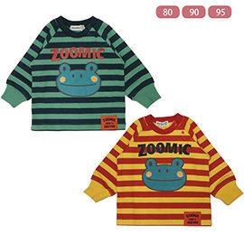 兒童T恤上衣保暖長袖條紋青蛙圖案
