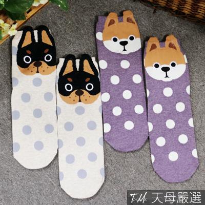 【天母嚴選】正韓-立體動物點點棉質平板襪(共二色)