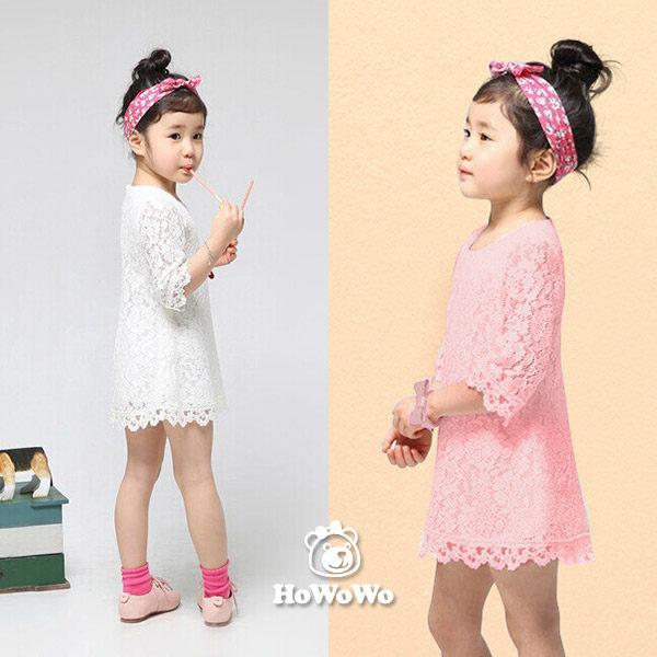 短袖洋裝純白蕾絲荷葉中袖連衣裙小禮服童裝AL31602好娃娃