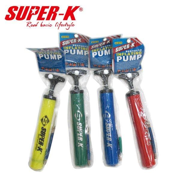 SUPER-K超酷10吋高級手動打氣筒1入顏色隨機出貨63-84010