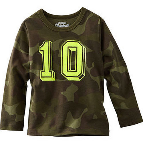 Carter's/OshKosh B'gosh 美國童裝 迷彩 純棉T恤 長袖 綠色 12M