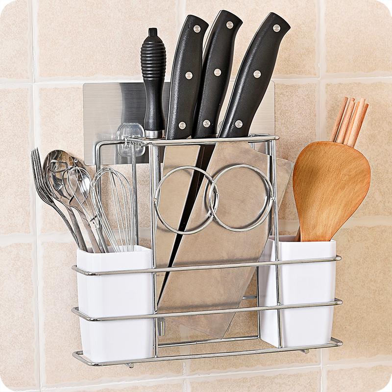 不鏽鋼刀架筷子籠廚房壁挂砧板菜刀架