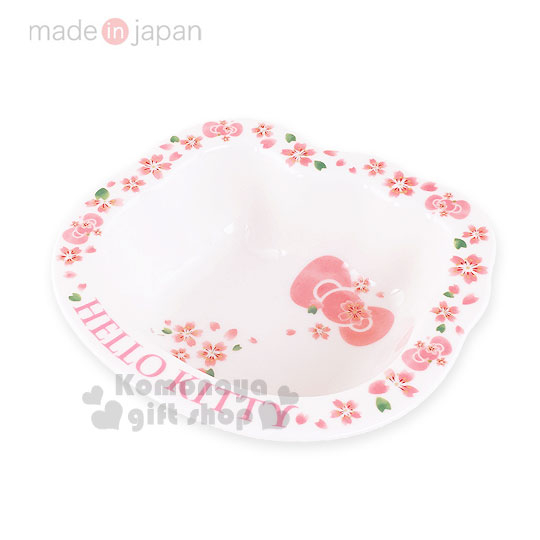 小禮堂Hello Kitty日製造型陶瓷湯碗小.白粉.櫻花.大臉型櫻花系瓷器4562384-47642