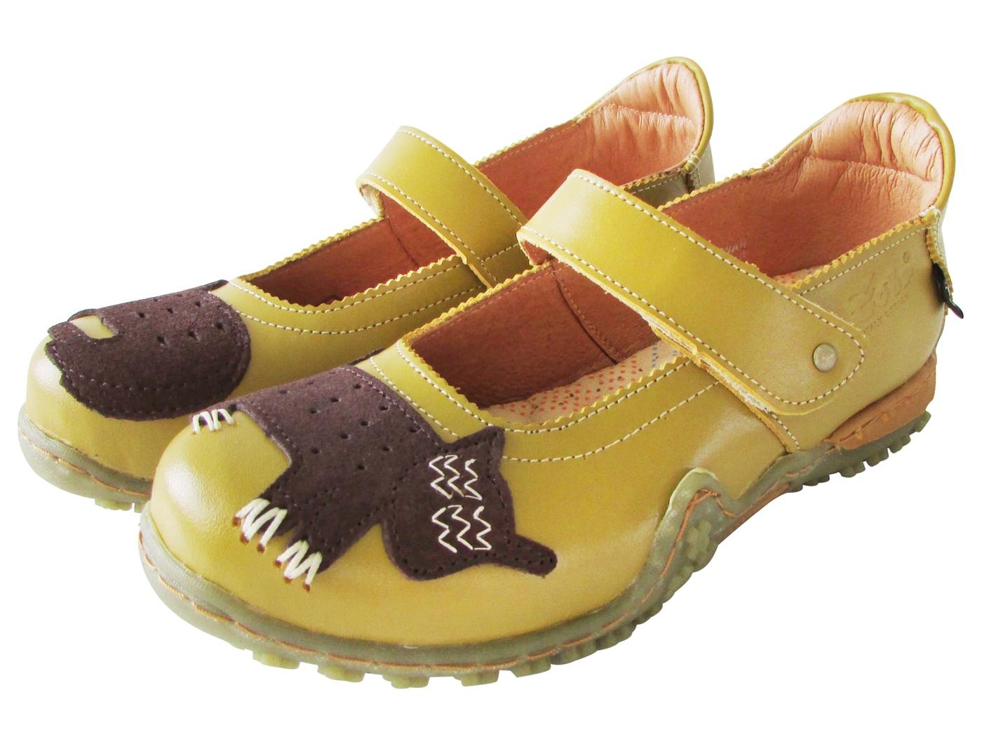 雙惠鞋櫃路豹Zobr兩隻貓咪女牛皮休閒鞋台灣製造B202黃