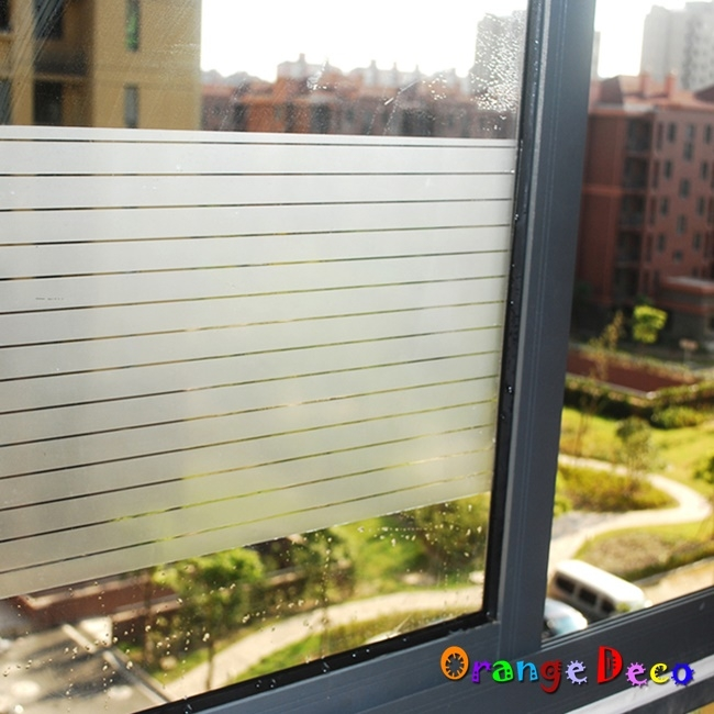 壁貼橘果設計橫條靜電玻璃貼45*200CM防曬抗熱無膠設計磨砂玻璃貼可重覆使用壁紙壁貼