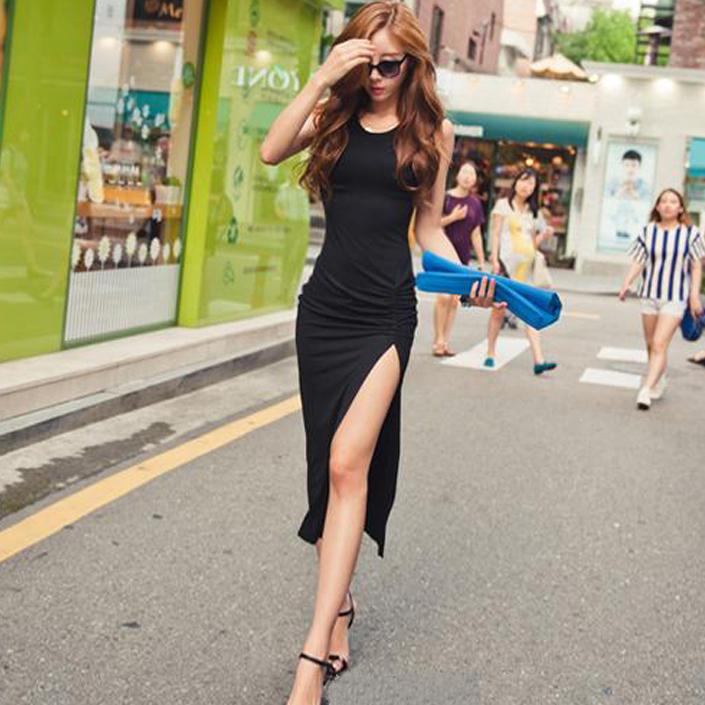 長款背心連衣裙顯瘦開叉長裙