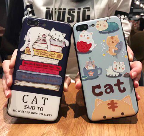 數位風潮韓國可愛貓咪彩繪手機殼卡通蘋果i6s蘋果iphone7 Plus保護套全包軟殼