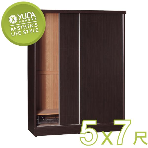 衣櫃YUDA美化5*7尺六分木心板拉門推門衣櫥衣櫃不含內鏡可加購新竹以北免運費